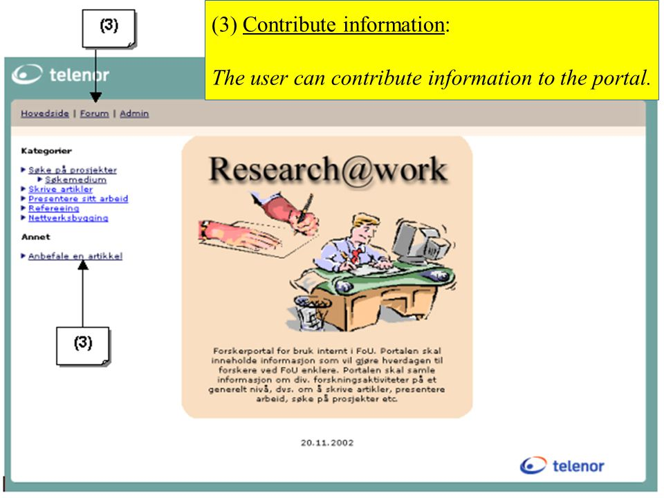 11 (3) Contribute information: The user can contribute information to the portal.