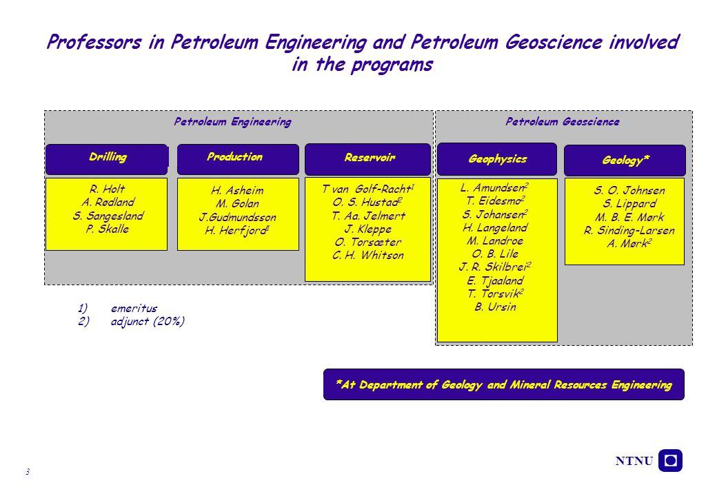NTNU 3 Professors in Petroleum Engineering and Petroleum Geoscience involved in the programs v Drilling Reservoir T van Golf-Racht 1 O. S. Hustad 2 T.