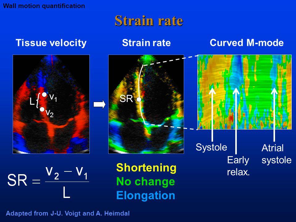 Strain rate L v1v1 v2v2 Tissue velocityStrain rate SR Adapted from J-U.