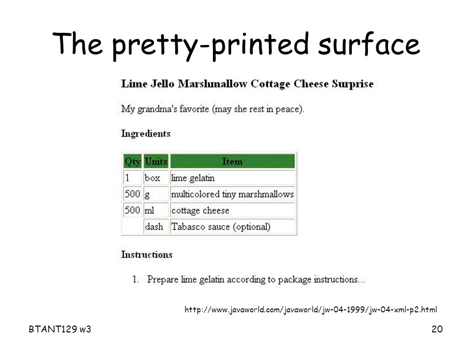 BTANT129 w320 The pretty-printed surface http://www.javaworld.com/javaworld/jw-04-1999/jw-04-xml-p2.html