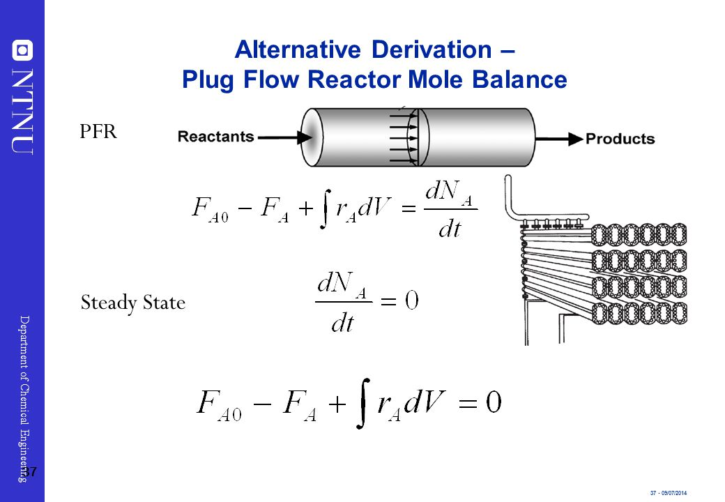 37 - 09/07/2014 Department of Chemical Engineering Alternative Derivation – Plug Flow Reactor Mole Balance Steady State PFR 37