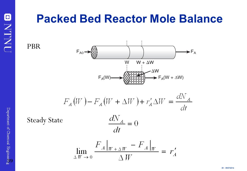 39 - 09/07/2014 Department of Chemical Engineering Steady State PBR Packed Bed Reactor Mole Balance 39