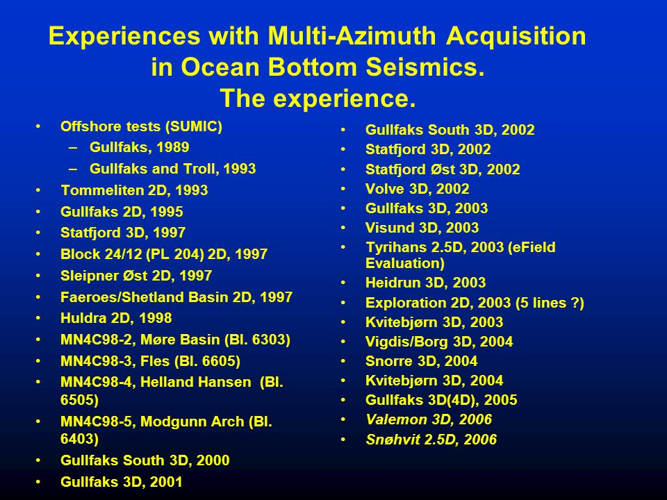 Experiences with Multi-Azimuth Acquisition in Ocean Bottom Seismics. The experience. Offshore tests (SUMIC) –Gullfaks, 1989 –Gullfaks and Troll, 1993