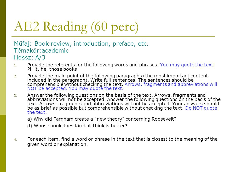 AE2 Reading (60 perc) Műfaj: Book review, introduction, preface, etc.