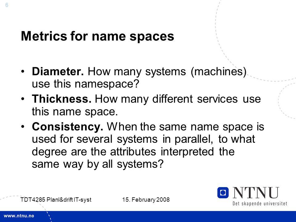 6 15. February 2008 TDT4285 Planl&drift IT-syst Metrics for name spaces Diameter.