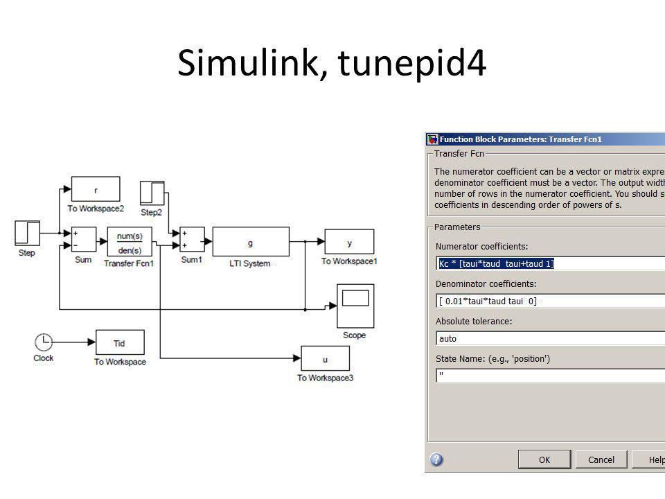 0510152025303540 0 0.5 1 1.5 2 2.5 %tunepid4 s=tf( s ) theta=0 g=(1/s)*exp(-theta*s) % integrating taud=0 taui=1 Kc=0.5 % oscillations (Kc*k *taui = 0.5 < 4) sim tunepid4; plot(Tid,y); hold on % Kc=0.25 % more oscillations (Kc*k *taui = 0.25 < 4) sim tunepid4; plot(Tid,y, red ); Kc=1 % less oscillations (Kc*k *taui = 1) sim tunepid4; plot(Tid,y, green ); hold off Kc=0.5 Kc=1 Kc=0.25 PI-control of integrator (level control).
