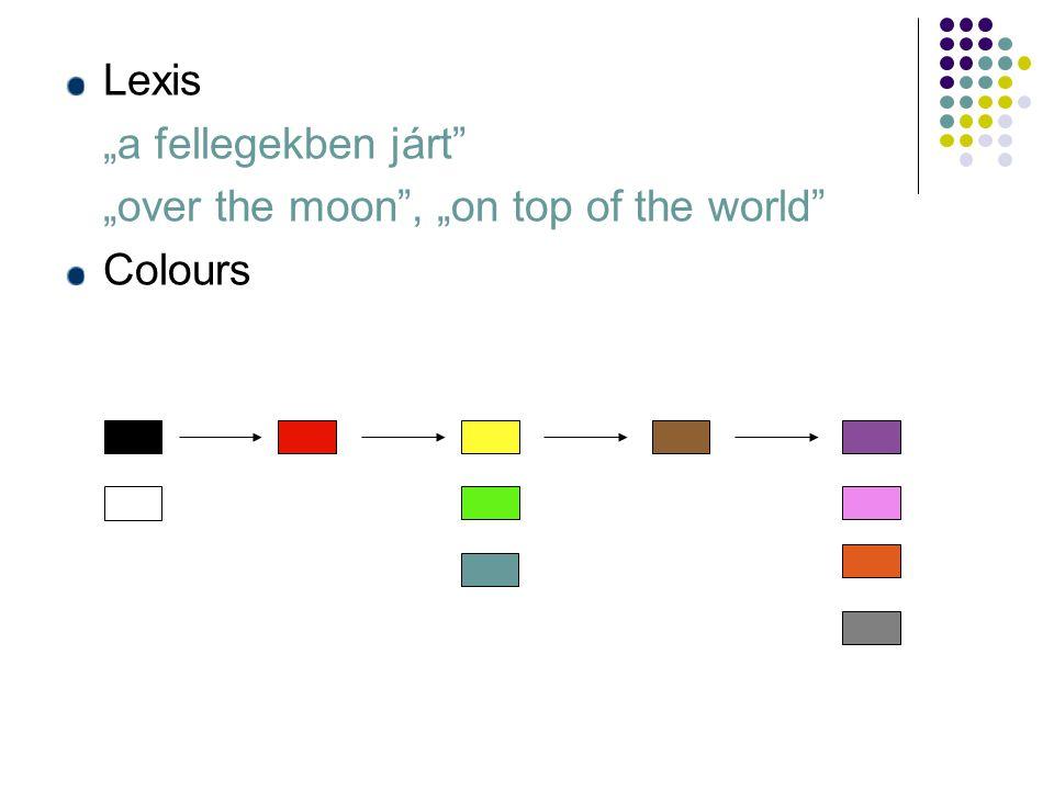 """Lexis """"a fellegekben járt """"over the moon , """"on top of the world Colours"""