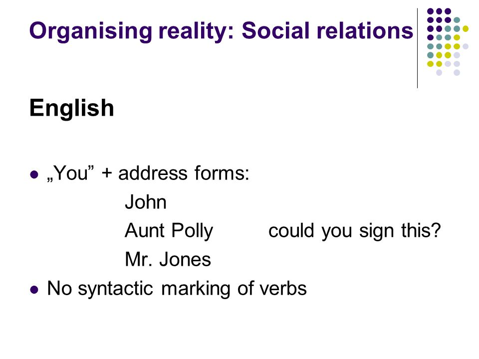 "Organising reality: Social relations English ""You + address forms: John Aunt Polly could you sign this."