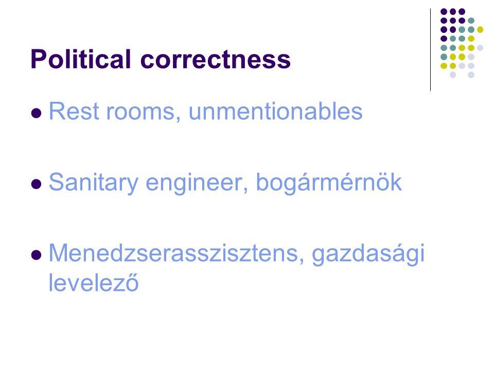 Political correctness Rest rooms, unmentionables Sanitary engineer, bogármérnök Menedzserasszisztens, gazdasági levelező