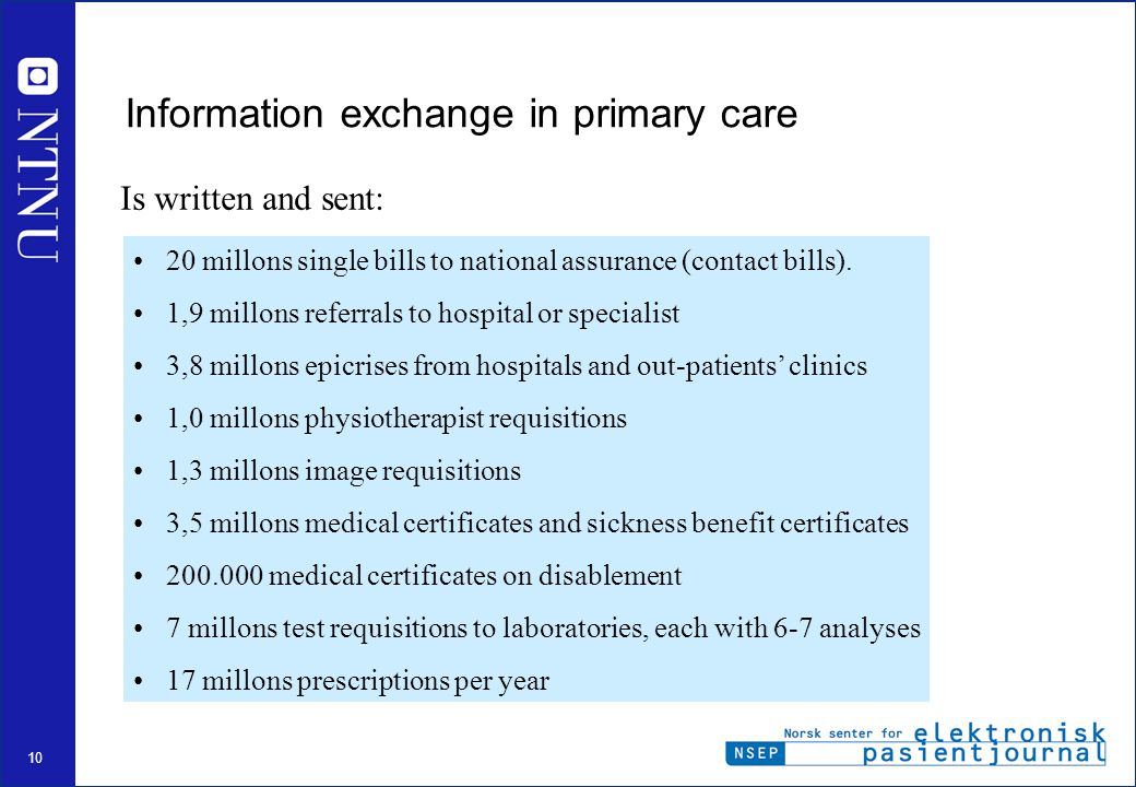 10 Information exchange in primary care 20 millons single bills to national assurance (contact bills).