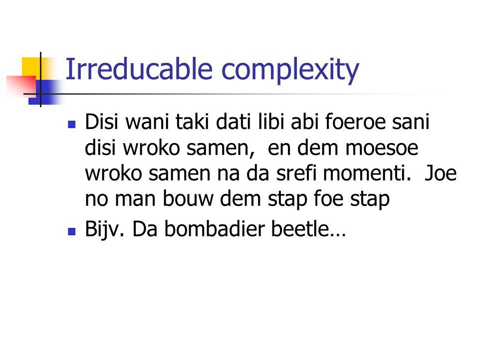 Irreducable complexity Disi wani taki dati libi abi foeroe sani disi wroko samen, en dem moesoe wroko samen na da srefi momenti.