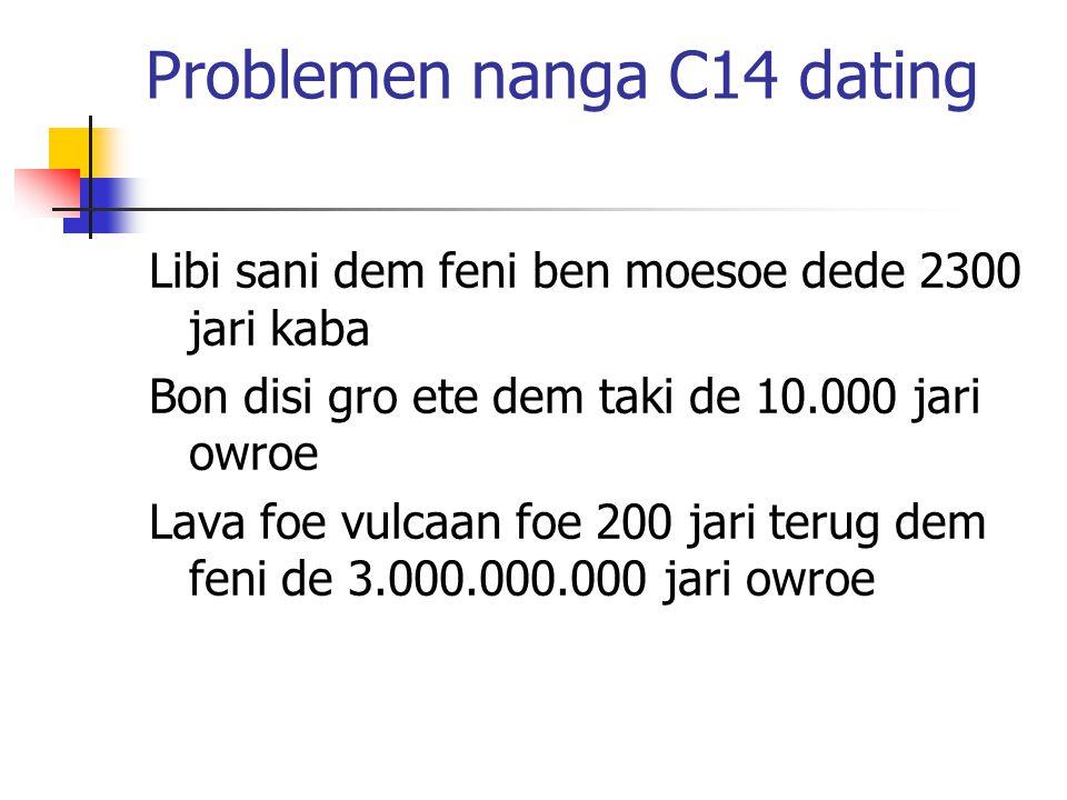 Problemen nanga C14 dating Libi sani dem feni ben moesoe dede 2300 jari kaba Bon disi gro ete dem taki de 10.000 jari owroe Lava foe vulcaan foe 200 jari terug dem feni de 3.000.000.000 jari owroe