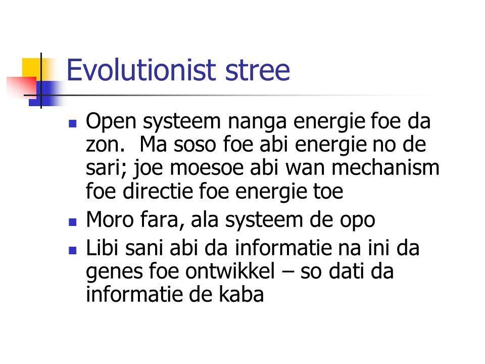 Evolutionist stree Open systeem nanga energie foe da zon.