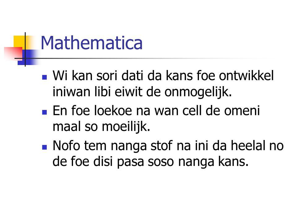 Mathematica Wi kan sori dati da kans foe ontwikkel iniwan libi eiwit de onmogelijk.