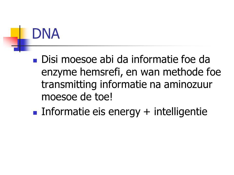 DNA Disi moesoe abi da informatie foe da enzyme hemsrefi, en wan methode foe transmitting informatie na aminozuur moesoe de toe.