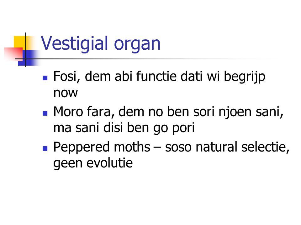 Vestigial organ Fosi, dem abi functie dati wi begrijp now Moro fara, dem no ben sori njoen sani, ma sani disi ben go pori Peppered moths – soso natural selectie, geen evolutie