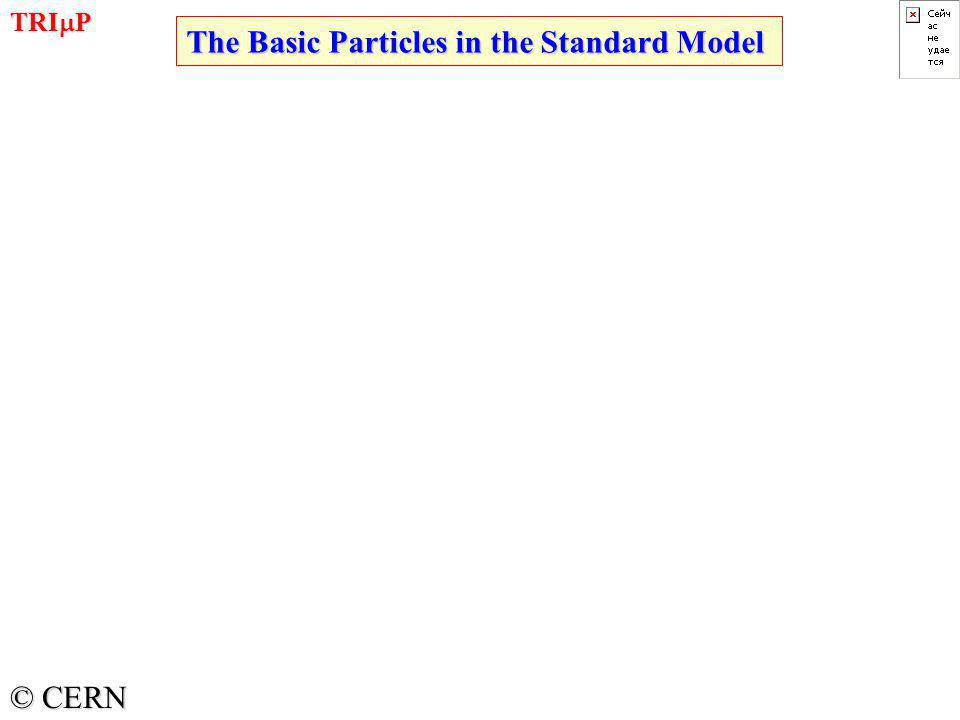TRI  P © CERN The Basic Particles in the Standard Model