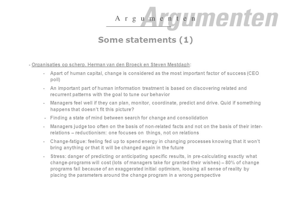 Some statements (1) - Organisaties op scherp.