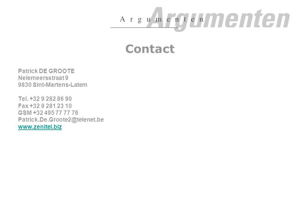 Contact Patrick DE GROOTE Nelemeersstraat 9 9830 Sint-Martens-Latem Tel.