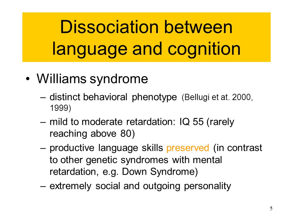 5 Dissociation between language and cognition Williams syndrome –distinct behavioral phenotype (Bellugi et at.