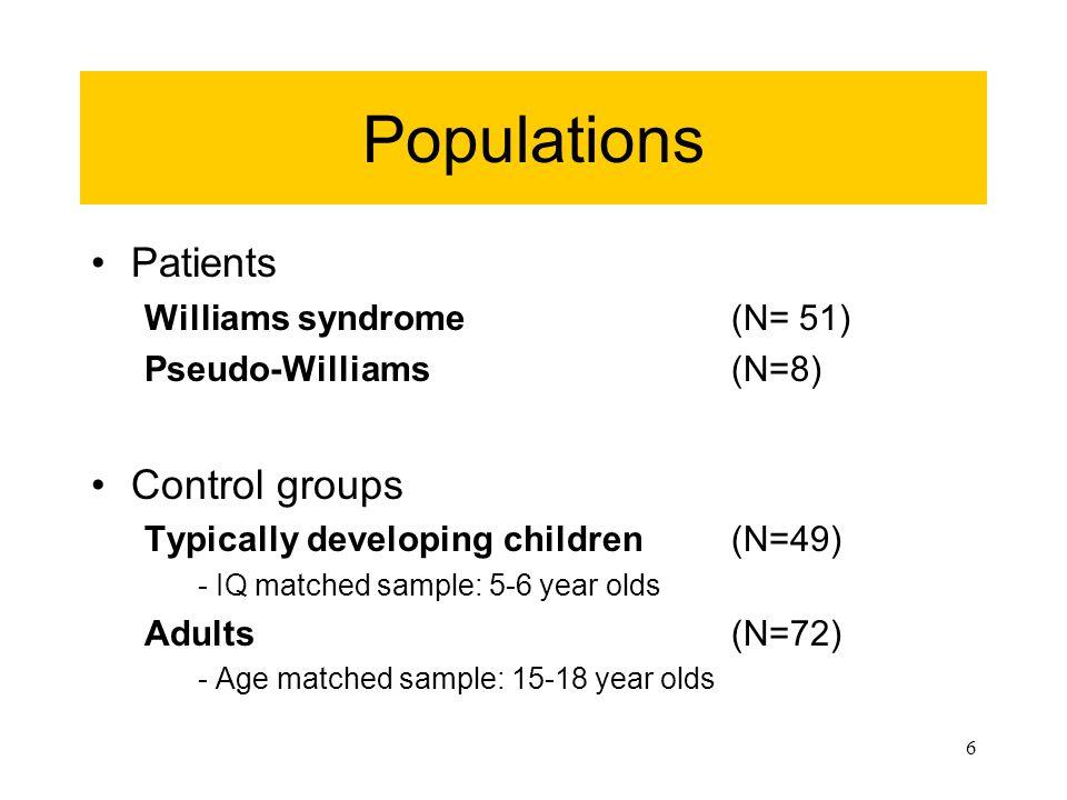 16 Analyses Comparisons –Williams syndrome (WMS) vs.