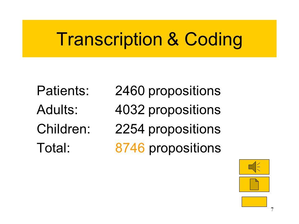 7 Transcription & Coding Patients: 2460 propositions Adults:4032 propositions Children:2254 propositions Total:8746 propositions