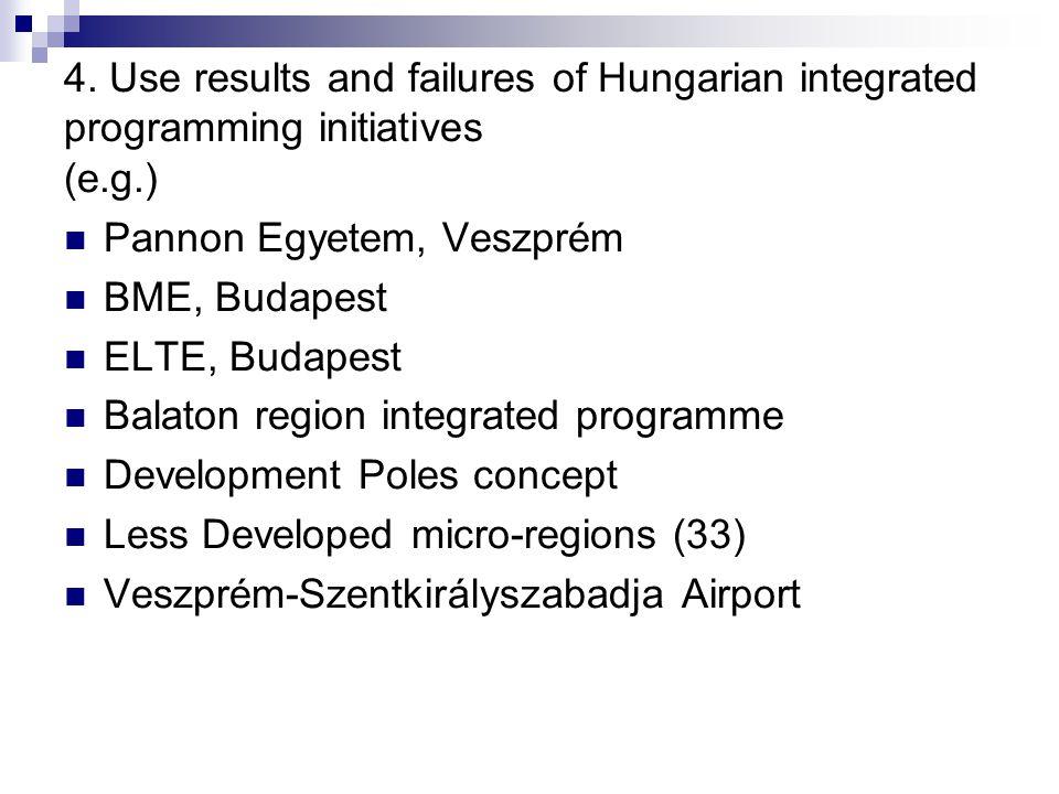 4. Use results and failures of Hungarian integrated programming initiatives (e.g.) Pannon Egyetem, Veszprém BME, Budapest ELTE, Budapest Balaton regio