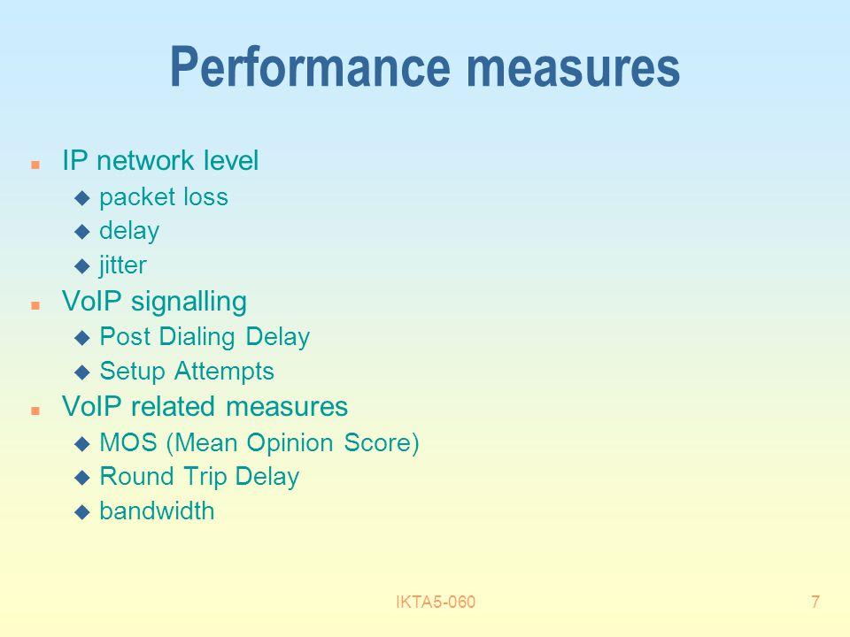 IKTA5-0607 Performance measures n IP network level u packet loss u delay u jitter n VoIP signalling u Post Dialing Delay u Setup Attempts n VoIP related measures u MOS (Mean Opinion Score) u Round Trip Delay u bandwidth
