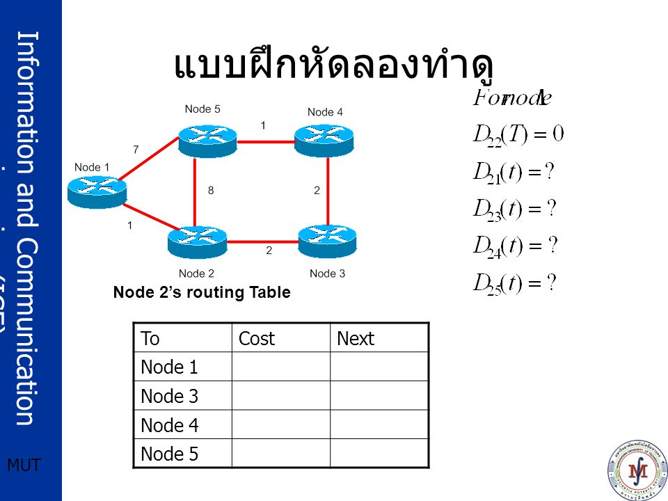 Information and Communication engineering (ICE) MUT แบบฝึกหัดลองทำดู Node 2's routing Table ToCostNext Node 1 Node 3 Node 4 Node 5