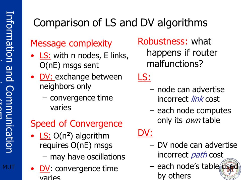 Information and Communication engineering (ICE) MUT Comparison of LS and DV algorithms Message complexity LS: with n nodes, E links, O(nE) msgs sent DV: exchange between neighbors only –convergence time varies Speed of Convergence LS: O(n 2 ) algorithm requires O(nE) msgs –may have oscillations DV: convergence time varies –may be routing loops –count-to-infinity problem Robustness: what happens if router malfunctions.