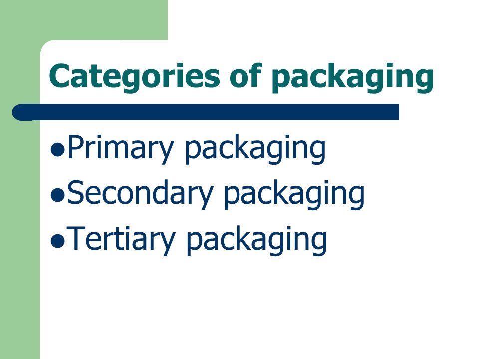 Categories of packaging Primary packaging Secondary packaging Tertiary packaging