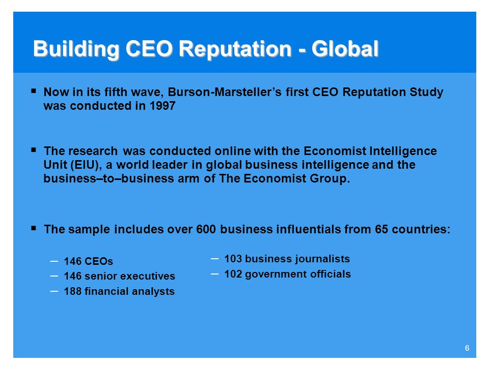 5 Agenda  Global Survey- CEO Capital and Corporate Reputation 2005  Norwegian Survey- CEO and Corporate Reputation 2006  An example- Norsk Hydro- N