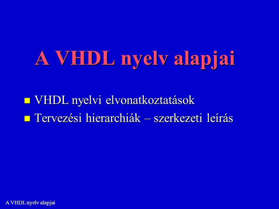 A VHDL nyelv alapjai n VHDL nyelvi elvonatkoztatások n Tervezési hierarchiák – szerkezeti leírás