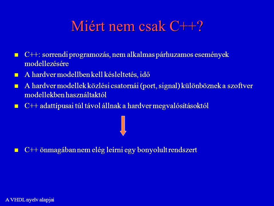 A VHDL nyelv alapjai Miért nem csak C++.