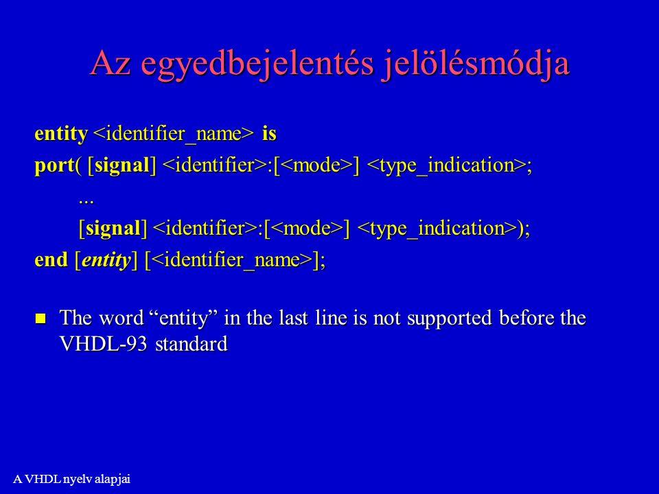 A VHDL nyelv alapjai Az egyedbejelentés jelölésmódja entity is port( [signal] :[ ] ;......