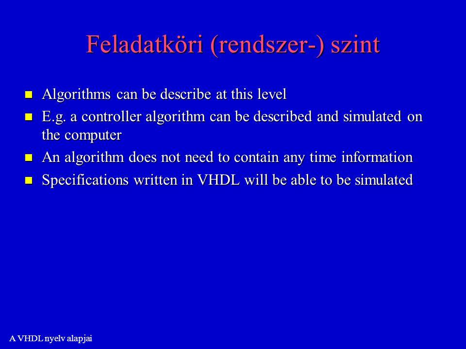 A VHDL nyelv alapjai Feladatköri (rendszer-) szint n Algorithms can be describe at this level n E.g.