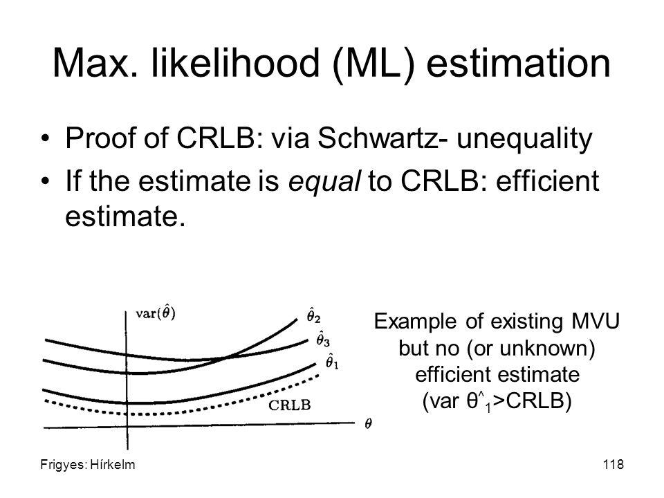 Frigyes: Hírkelm118 Max. likelihood (ML) estimation Proof of CRLB: via Schwartz- unequality If the estimate is equal to CRLB: efficient estimate. Exam