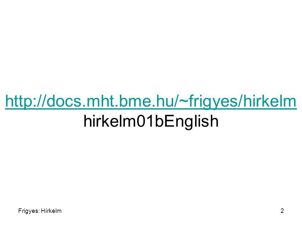 Frigyes: Hírkelm2 http://docs.mht.bme.hu/~frigyes/hirkelm http://docs.mht.bme.hu/~frigyes/hirkelm hirkelm01bEnglish