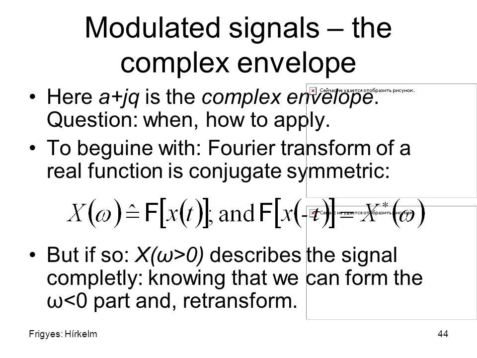 Frigyes: Hírkelm44 Modulated signals – the complex envelope Here a+jq is the complex envelope.