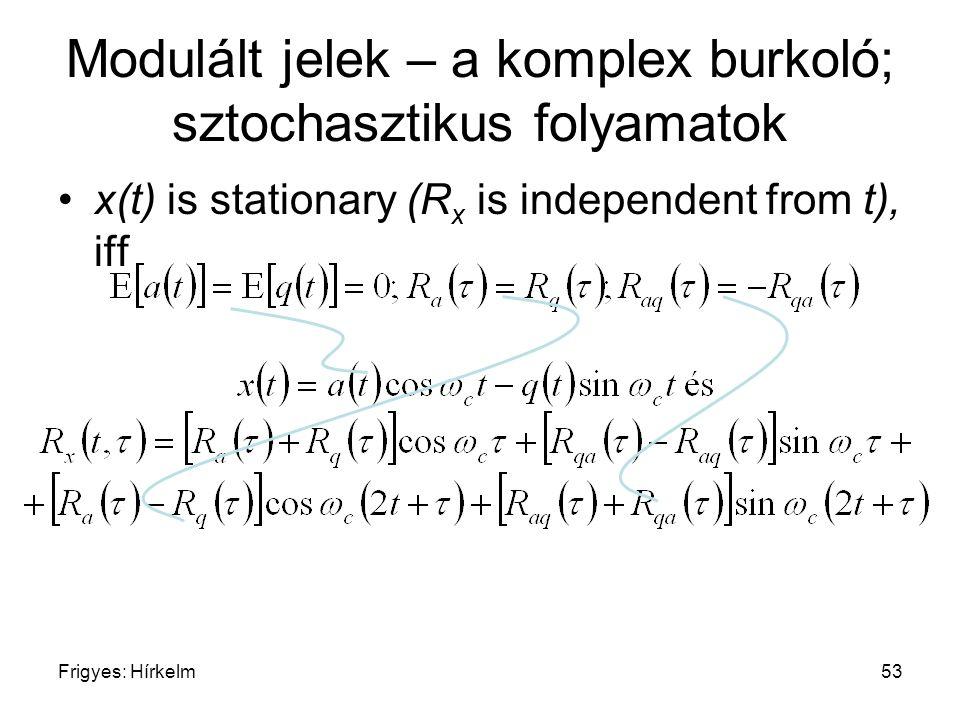 Frigyes: Hírkelm53 Modulált jelek – a komplex burkoló; sztochasztikus folyamatok x(t) is stationary (R x is independent from t), iff