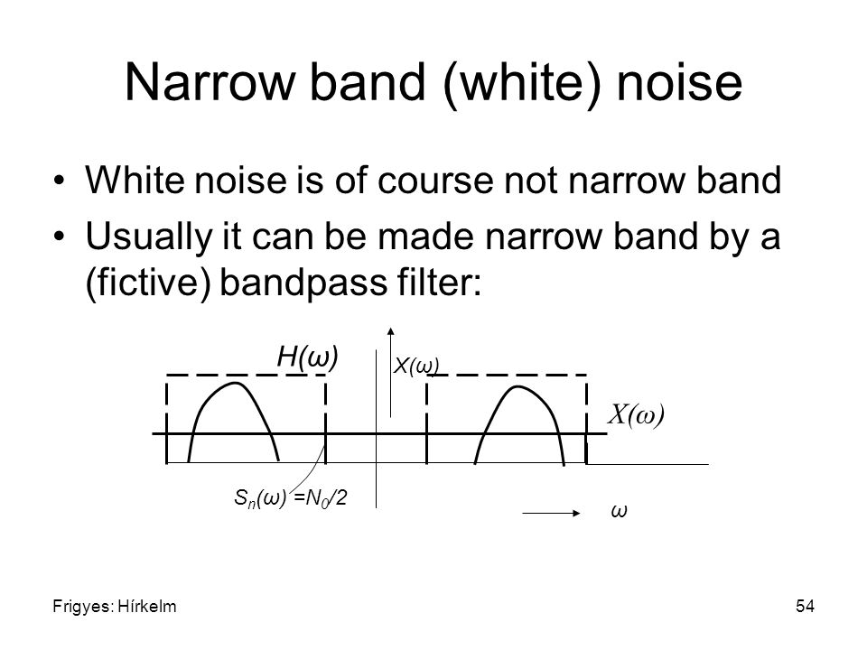 Frigyes: Hírkelm54 Narrow band (white) noise White noise is of course not narrow band Usually it can be made narrow band by a (fictive) bandpass filter: ω X(ω) S n (ω) =N 0 /2 H(ω)