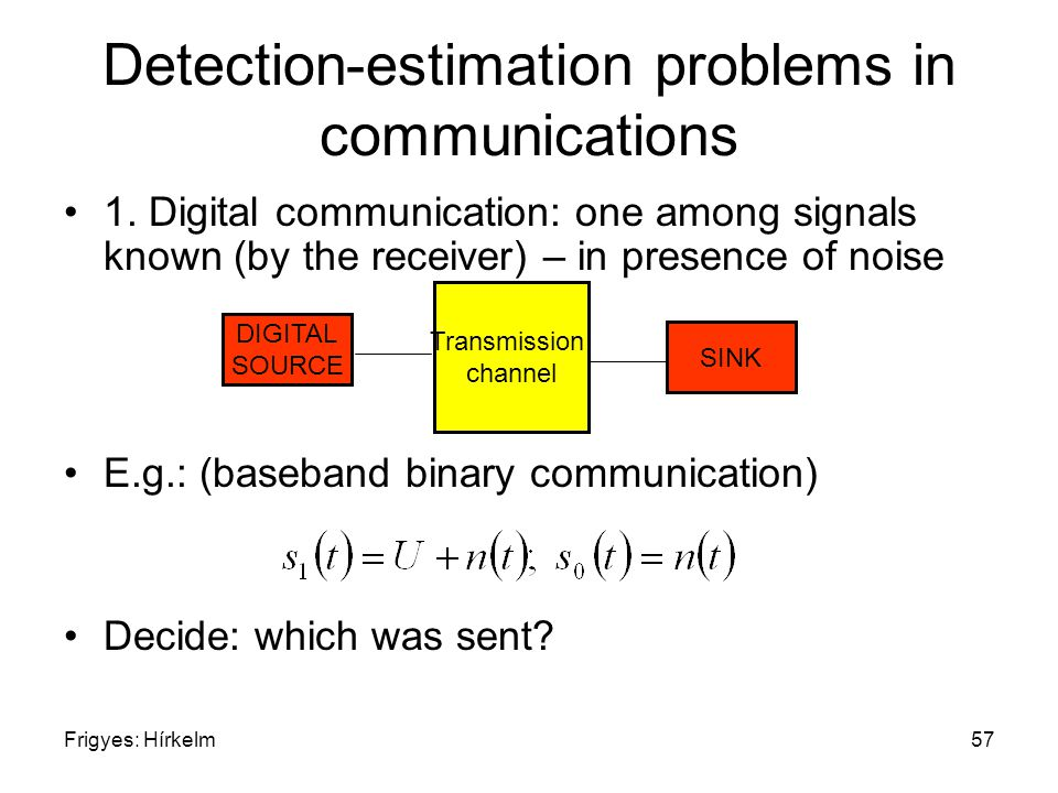 Frigyes: Hírkelm57 Detection-estimation problems in communications 1.