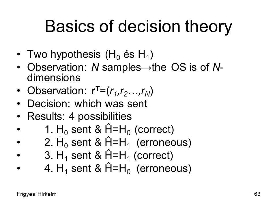 Frigyes: Hírkelm63 Basics of decision theory Two hypothesis (H 0 és H 1 ) Observation: N samples→the OS is of N- dimensions Observation: r T =(r 1,r 2 …,r N ) Decision: which was sent Results: 4 possibilities 1.