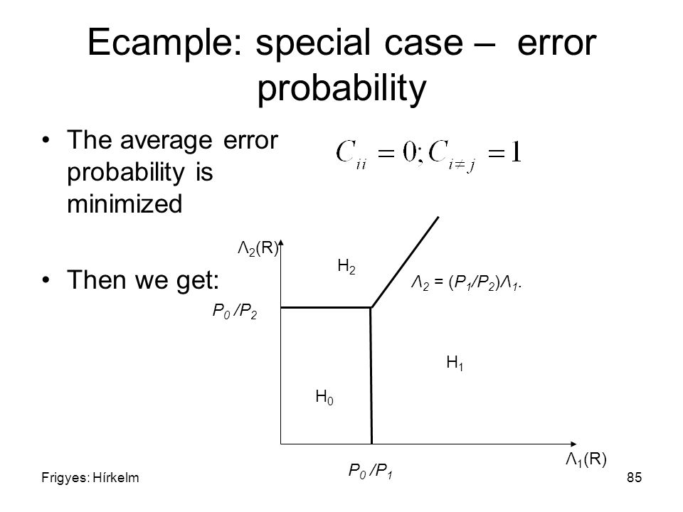Frigyes: Hírkelm85 Ecample: special case – error probability The average error probability is minimized Then we get: H2H2 H0H0 H1H1 Λ 1 (R) Λ 2 (R) P 0 /P 2 P 0 /P 1 Λ 2 = (P 1 /P 2 )Λ 1.