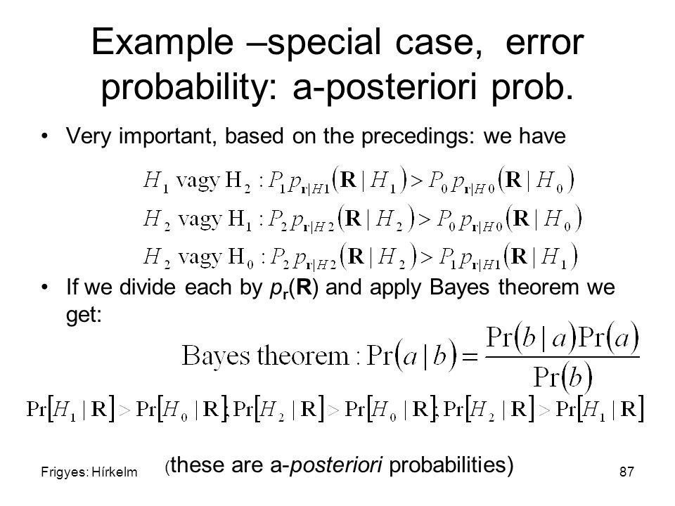 Frigyes: Hírkelm87 Example –special case, error probability: a-posteriori prob. Very important, based on the precedings: we have If we divide each by