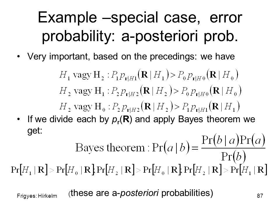 Frigyes: Hírkelm87 Example –special case, error probability: a-posteriori prob.