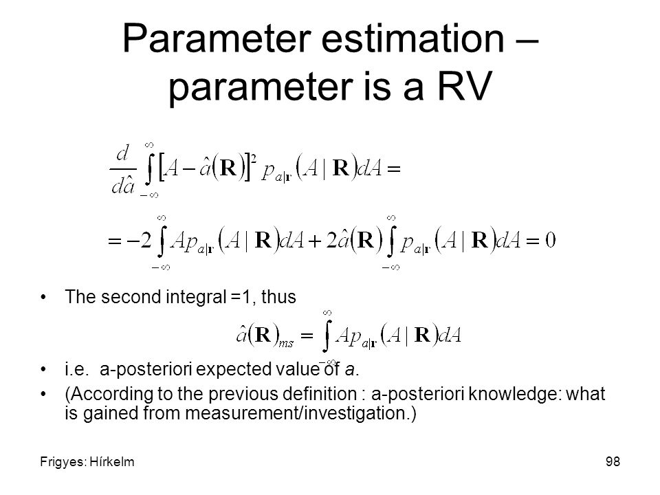 Frigyes: Hírkelm98 Parameter estimation – parameter is a RV The second integral =1, thus i.e.