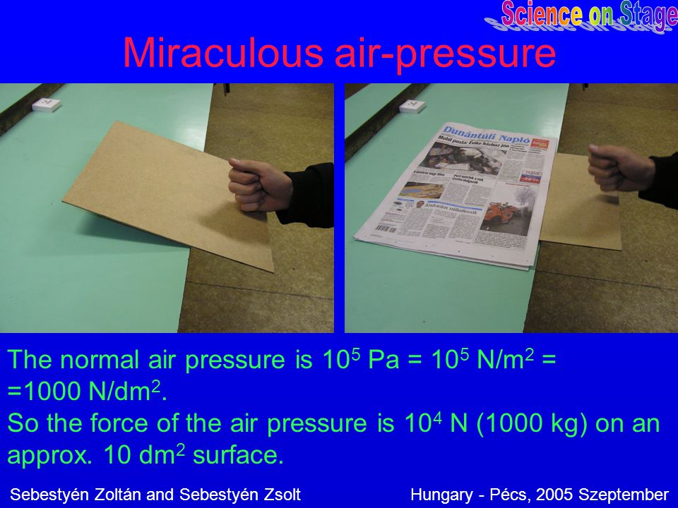 Miraculous air-pressure The normal air pressure is 10 5 Pa = 10 5 N/m 2 = =1000 N/dm 2. So the force of the air pressure is 10 4 N (1000 kg) on an app