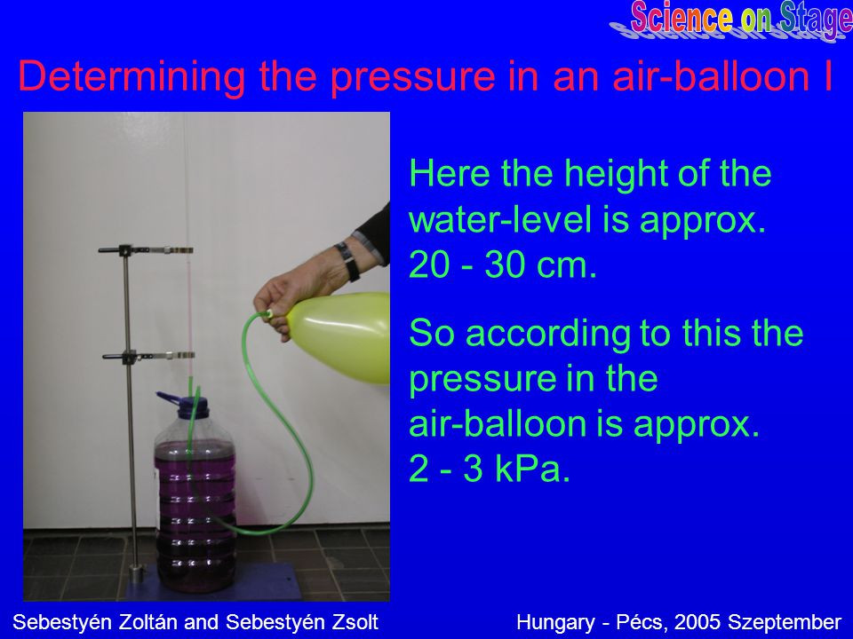 Determining the pressure in an air-balloon I Here the height of the water-level is approx. 20 - 30 cm. So according to this the pressure in the air-ba