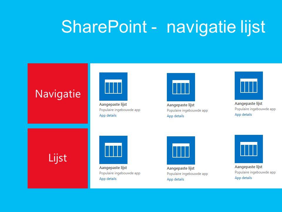 SharePoint - navigatie lijst Navigatie Lijst